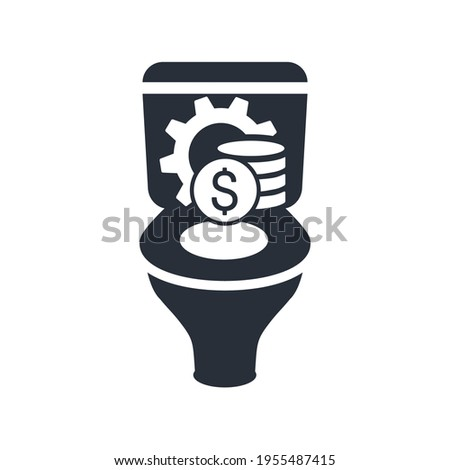Poor financial management. Money down the toilet. The budgetary crisis. Vector illustration isolated on white background. Stock photo ©