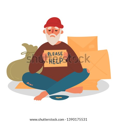 Poor homeless beggar. Poverty. Man with cardboard on the city street is asking for help. Old beggar with hope and please help text. Cardbox, bag, mendicant and beggar plate with coins. Vector flat Foto stock ©