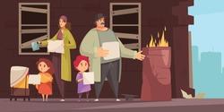 Poor man family with 2 little kids begging foor food money on street flat horizontal vector illustration
