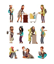 Poor unhappy homeless cartoon people needing financial help. Vector characters set. Illustration of beggar cartoon, character poverty and dirty in depressio