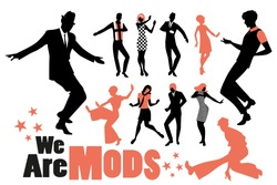 Pop and soul dance clipart collection. Set of mods and northern soul dancers isolated on white background.