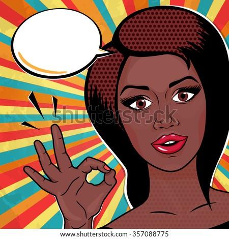 pop art african american woman