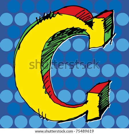 pop-art alphabet, hand drawn letter C