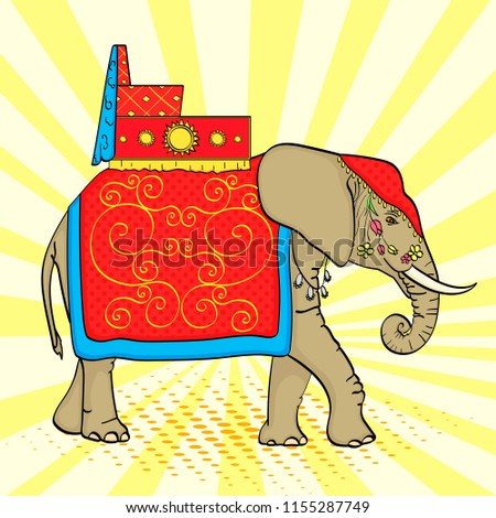 pop art background  elephant in