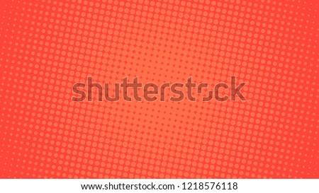 Pop art background orange and red color dot haltone retro style vector illustation full hd