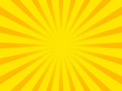 Pop art background, orange rays. Pattern raster illustration