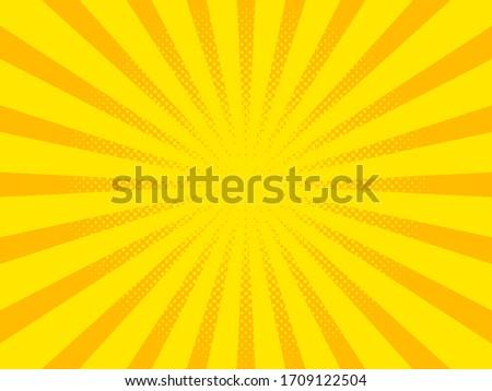 Pop art background, orange rays. Pattern raster illustration