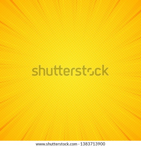 Pop art background. Pattern yellow colored. Comic sunbeam background. Vector illustration. EPS 10