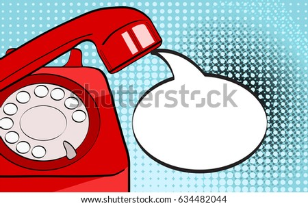 Pop art background red old phone and empty speech bubble for your offer. Vector colorful hand drawn illustration in retro comic style.