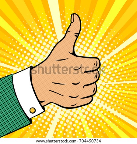 Pop art background with male hand in suit showing thumb up on halftone. Vector colorful hand drawn illustration with halftone in retro comic style.