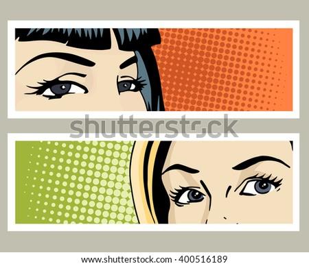 pop art banner with female eyes