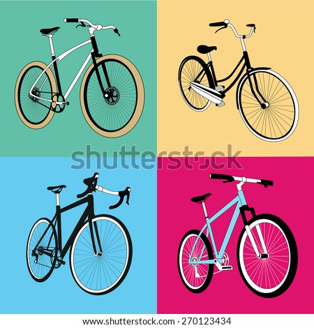 pop art bicycles vector art