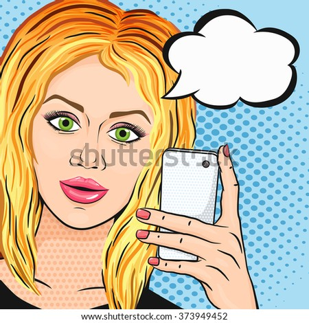 pop art blonde positive woman