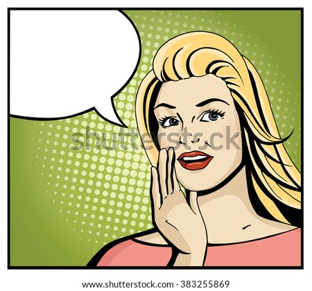 pop art blonde woman smile and
