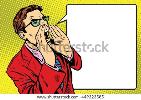 pop art business man screaming. ...