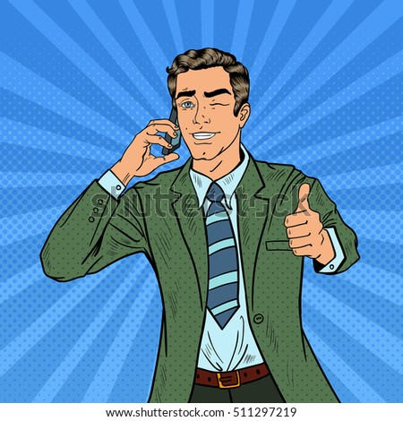 Pop Art Businessman Talking on the Phone and Gesturing Great. Vector illustration