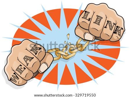 pop art chained fists weak link