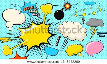 Pop art cloud bubble. Blah, blah, blah funny speech bubble. Trendy Colorful retro vintage comic background in pop art retro comic style. Illustration easy editable for Your design.
