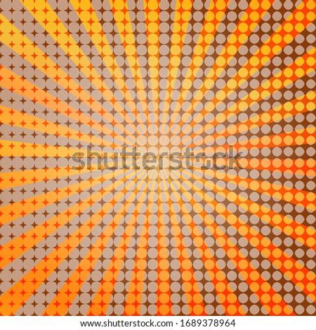 Pop art colorful comics book magazine cover. Striped rainbow background. Cartoon funny retro pattern strip mock up. Vector halftone illustration. 90-s style. Sunburst, starburst shape.