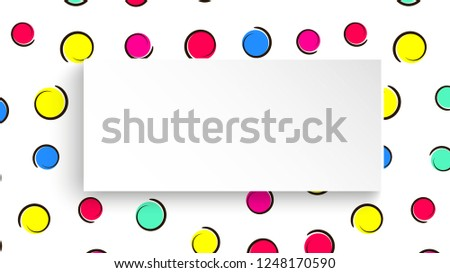 Pop art colorful confetti background. Big colored spots and circles on white background with black dots and ink lines. Banner with 3d paper plate in pop art style. Bright template for flyer, sale, ad