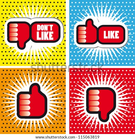 Pop art Comic Book Style Banners with Thumbs up button - like button Thumbs down button - don't like button