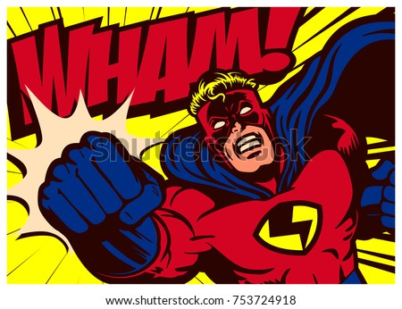 Pop art comic book style superhero punching vector poster design wall decoration illustration