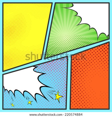 Pop-art comic page sheet template - with collection of beam and dot backgrounds. Vector illustration