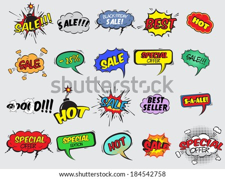 Pop art comic sale discount promotion decorative icons set with bomb explosive isolated vector illustration #184542758