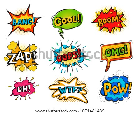 Pop art comic speech bubble boom effects vector explosion bang communication cloud fun humor book splash illustration. #1071461435