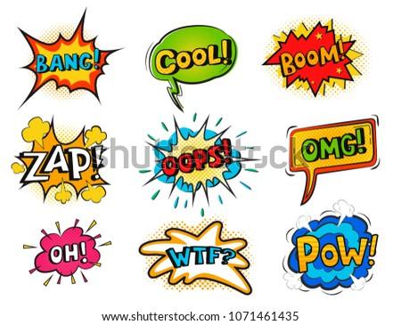 Pop art comic speech bubble boom effects vector explosion bang communication cloud fun humor book splash illustration. #1071461435