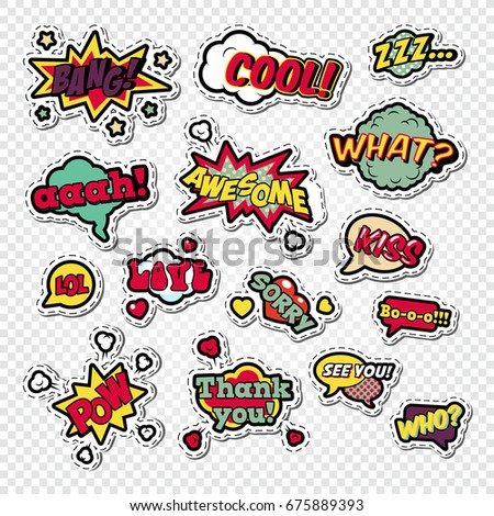 Pop Art Comic Speech Bubbles Set with Funny Text. Chat, Communication Stickers, Badges and Patches. Vector illustration #675889393