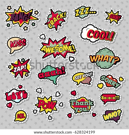 Pop Art Comic Speech Bubbles with Expressions Cool Bang Zap Lol. Vector Retro Background #628324199