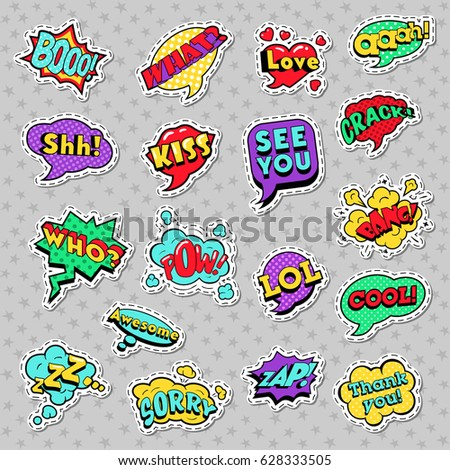 Pop Art Comic Speech Bubbles with Expressions Cool Bang Zap Lol. Vector Retro Background #628333505