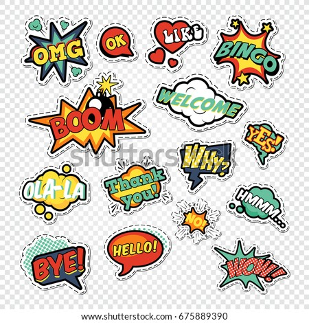 Pop Art Comic Speech Bubbles with Funny Text. Chat, Communication Stickers, Badges and Patches. Vector illustration #675889390