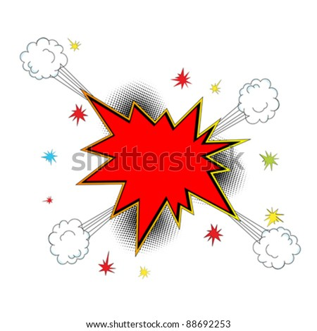 Pop art,  comic style explosion icon with room for text. Abstract art. Isolated and grouped objects