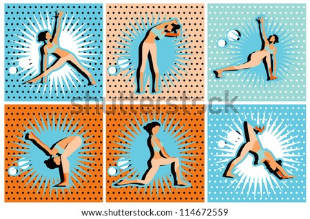 Pop Art Comic yoga, pilates big set of vector symbols