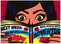 Pop art comics style excited girl reading comic book or adventure graphic novel vector illustration
