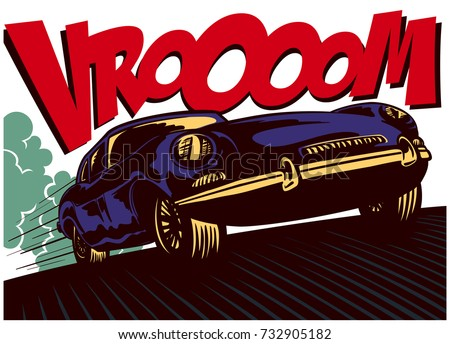pop art comics style fast car...