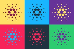 Pop art Cryptocurrency coin Cardano ADA icon isolated on color background. Digital currency. Altcoin symbol. Blockchain based secure crypto currency. Vector.