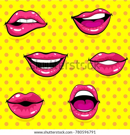 pop art excited woman lips  dot