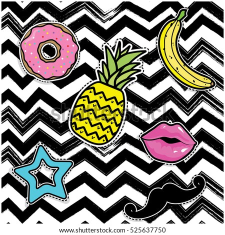 Pop art fashion chic patches, badges, pins and stickers. vector illustration.