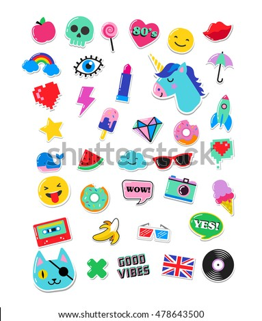 Pop art fashion chic patches, pins, badges and stickers #478643500