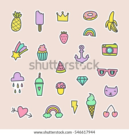 Pop art fashion labels. Can be used for pins, stickers, patches design. Vector hand drawn cartoon illustration.