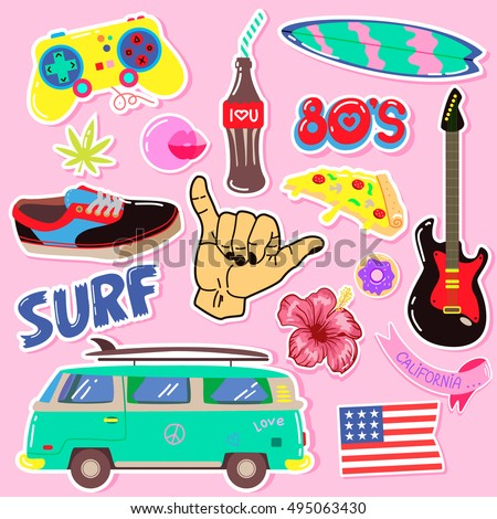 Pop art fashion patches,pins, badges,stickers. Hand Drawn Vector. Hipster American Punk rock Fashionable Stickers Collection. Doodle Pop art Sketch.Set of Vintage Surfing Graphics.Element of design
