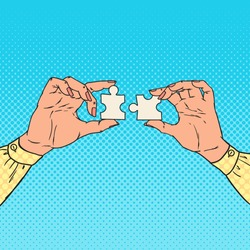 Pop Art Female Hands Holding Two Puzzle Pieces. Business Solution Concept. Vector illustration