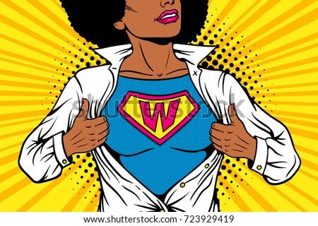 pop art female superhero young