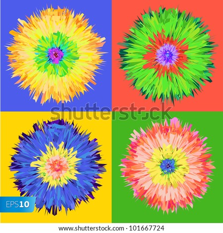 Pop art flower, vector Eps 10 illustration. - stock vector