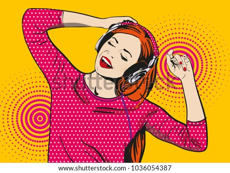 pop art girl listens to music