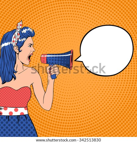 pop art girl with megaphone and