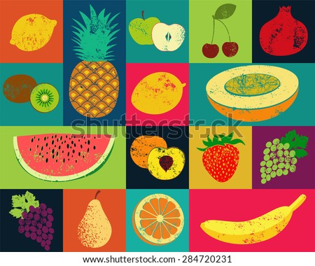 pop art grunge style fruit